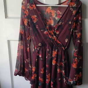 Bell sleeve sheer Abercrombie dress floral xs